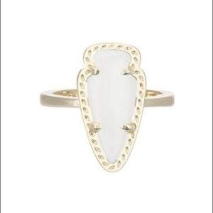 Kendra Scott White and Gold Arrowhead Ring